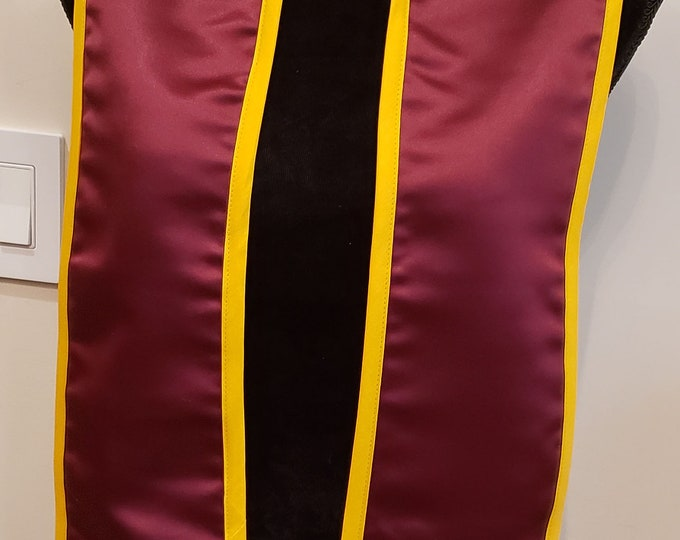 GRADUATION STOLE/GRADUATION Sash/Slant Bottom Sash/Pointed Bottom Stole/Class of 2019 Graduation Stole/Maroon Stole/Gold Trim Stole