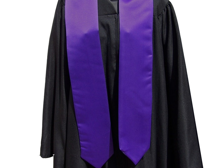Purple Graduation Stole/Satin Stole with Pointed Tips/Class of 2019/Bold Embroidered Stole/Custom Graduation Stole