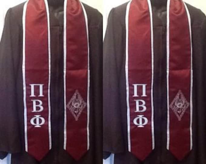 Reserved for Chloe Jen/ 3 Maroon Graduation Stoles with Light Blue Trim/Pi Beta Phi Greek Letter Embroidery