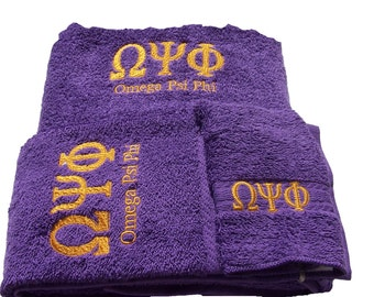 OMEGA PSI PHI Deep  Purple 3 piece Towel Set (Bath, Hand and Wash)/2 pc Towel Set/ Bath Towel /Personalized Omega Psi Phi Towel Set