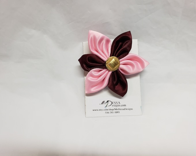Satin Fabric Flower Pin/Brooch/Pink & Maroon 6 Pedal Satin Flower Pin/Satin Lapel Pin Embellishment
