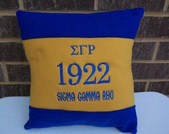 "Sigma Gamma Rho 14"" Color Blocked Pillow"
