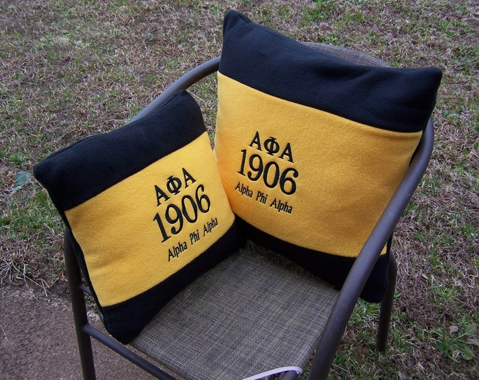 "ALPHA PHI ALPHA 16"" or 20"" Embroidered Fleece Pillow/Black n Gold Alpha Fleece Pillow/"