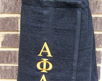 ALPHA PHI ALPHA Greek Letter Embroidered Pool, Spa, Gym, Black Terry Cloth Shower Wrap