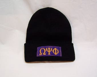 OMEGA PSI PHI Greek Letter Beanie - Omega Psi Phi Embroidered Beanie - Omega Psi Phi Skull Cap w Greek Letter Embroidery- Cuffed Knit Beanie