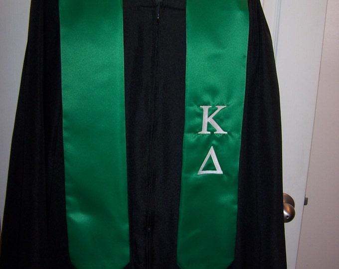 KAPPA DELTA Emerald Greek or White Satin  Greek Letter Embroidered Satin Graduation Stole