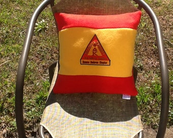 Reserved for Florence Eight Custom Red & Gold color pillow with custom embroidered patch