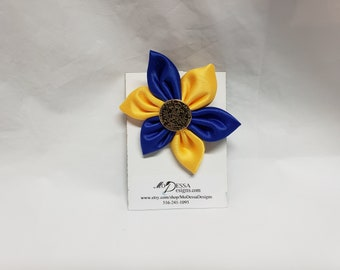 Royal Blue & Gold 6 Petal Satin Fabric Flower Pin/Brooch/ 6 Pedal Satin Flower Pin/Satin Lapel Pin /Royal Blue n Gold Sigma Gamma Rho colors