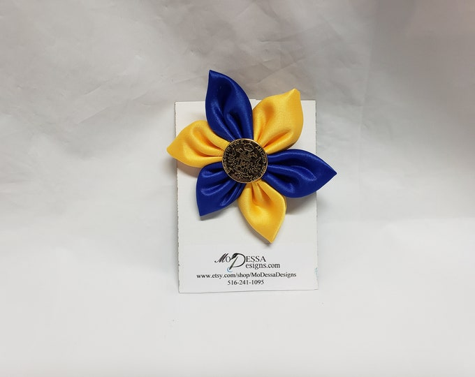 Royal Blue & Gold 6 Petal Satin Fabric Flower Pin/Brooch/ 6 Pedal Satin Flower Pin/Satin Lapel Pin /Royal Blue n Gold Sigma Gamma Rho colors