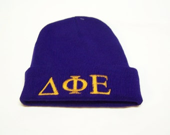 DELTA PHI EPSILON Purple Embroidered Greek Letter Monogrammed Acrylic Knit Beanie