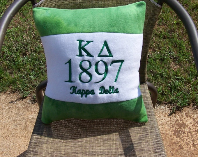 """KAPPA DELTA 16"""" Pillow / Kappa Delta Greek Letter/1897 Founding Year Embroidered Green/White Color Blocked Pillow"""