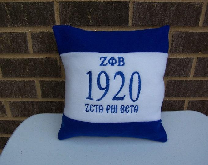 """ZETA PHI BETA Greek Letter Embroidered 14"""" Fleece Pillow"""