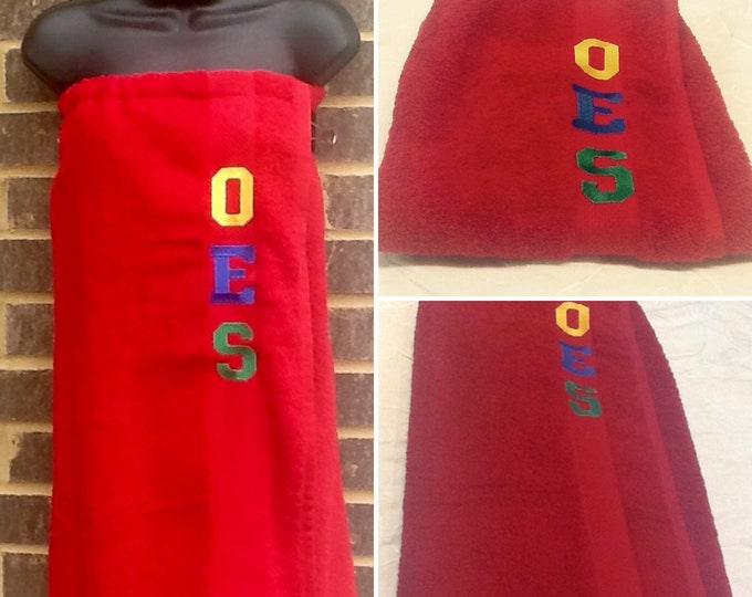 ORDER of EASTERN STAR Embroidered Red Terry Towel Pool, Spa, Gym,Shower Wrap/Embroidered w Royal,Green oes initials