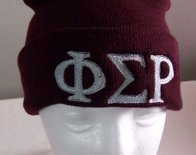 PHI SIGMA RHO Maroon Embroidered Greek Letter Monogrammed Acrylic Knit Beanie