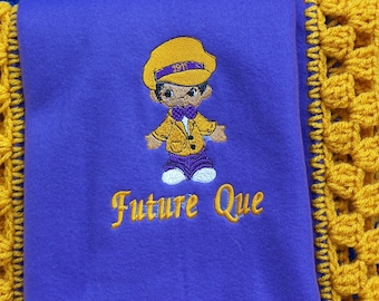 Future OMEGA PSI PHI Fleece Blanket with Crochet Edge