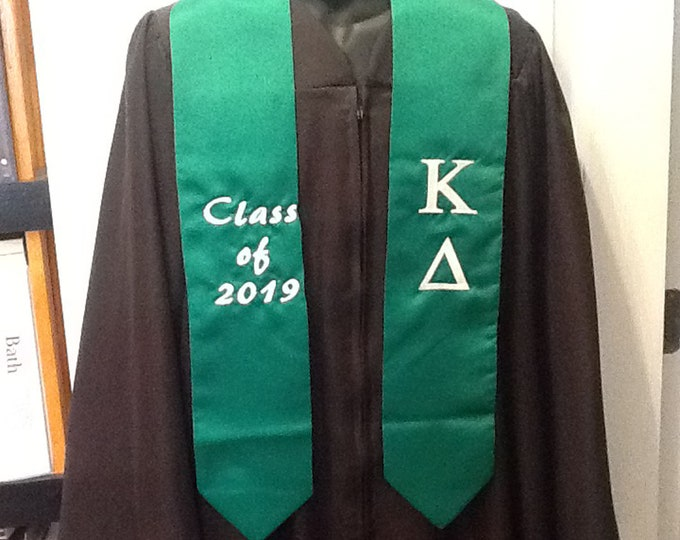 KAPPA DELTA Sorority Emerald or White Satin  Greek Lettered Embroidered Satin Graduation Stole/Sash Class of 2019/Stole/Personalized Stole