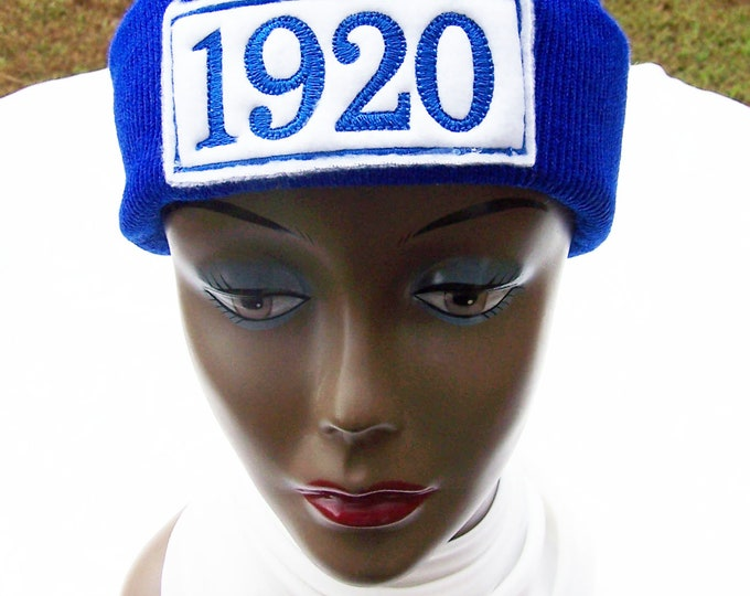 ZETA PHI BETA Greek Letter or 1920  Monogrammed Acrylic Knit Beanie/Patched Beanie/Zeta Phi Beta Embroidered Cuffed Beanie/Royal Blue Beanie