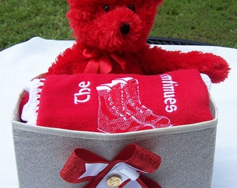 Future KAPPA  ALPHA PSI  Fleece Blanket with Crochet Edge, Plush Toy& Storage Container 3 Piece Gift Set