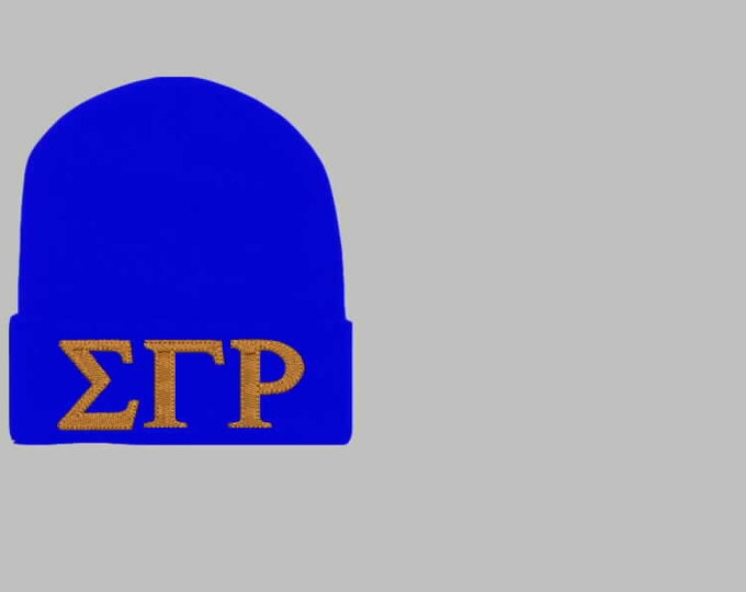 SIGMA GAMMA Rho Greek Letter Beanie/SGR  Royal Blue Embroidered Greek Letter Beanie/Gold Patch Embroidered Beanie/1922 Founding Year Beanie