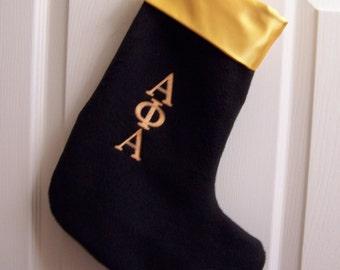 Greek Letter Embroidered Christmas  Stocking, Alpha Omega Psi Phi , Sigma Gamma Rho, Kappa Alpha Psi, Chi Eta Phi