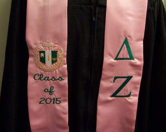 DELTA ZETA Pink  or Emerald Green Satin Graduation Stole -Embroidered w/Greek Letters &/or Class Year/Shield