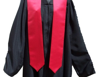 Greek Letter Embroidered Satin Graduation/Commencement Stole: Black, Gold, Lime, Pink Purple, Red, Royal, White, Yellow