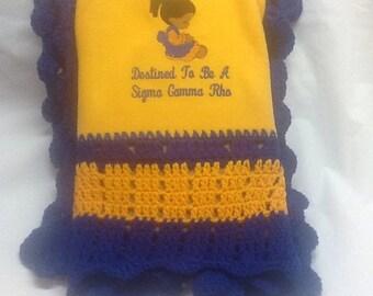 Future  Sigma Gamma Rho baby/youth crochet/fleeceblanket/ Gold & Royal OAK hand crocheted blanket