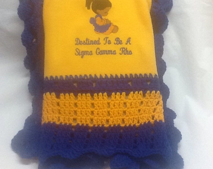 Future  Sigma Gamma Rho baby/youth crochet/fleeceblanket/ Gold & Royal OAK hand crocheted blanket
