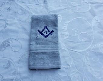EMBROIDERED MASON SQUARE hand towel/Grey Mason Hand towel/Mason Sport Towel/Mason Gym towel/Embroidered Mason Gym Towel