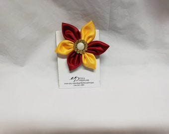 Gold and Red  6 Petal Satin Fabric Flower Pin/Brooch/ 6 Pedal Satin Flower Pin/Satin Lapel Pin/Pink n White Sorority Colors