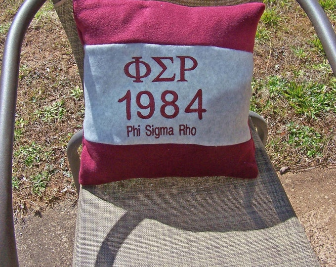 """PHI SIGMA RHO Maroon & Grey Greek Letter/Founding Year ,1984 Embroidered 14"""" Color Blocked Pillow"""