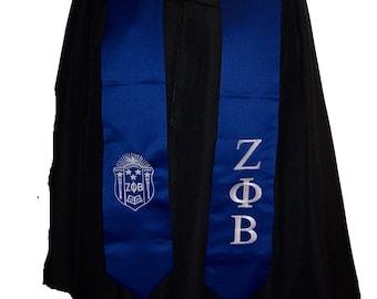 ZETA PHI BETA Sorority  Royal Blue or White Satin Graduation Stole w/Greek Letter Embroidery & Shield