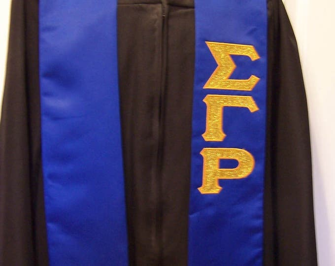 Royal Blue GLITTER FLAKE/BLING/Embroidered, Personalized, High School, College, University, Trade School Graduation Stole