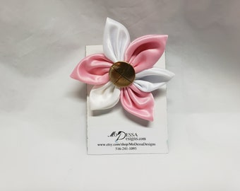 Pink and White  6 Petal Satin Fabric Flower Pin/Brooch/ 6 Pedal Satin Flower Pin/Satin Lapel Pin/Pink n White Sorority Colors
