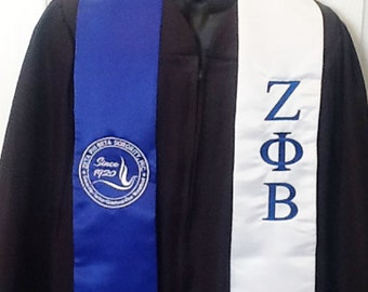 Zeta Phi Beta Graduation stole w Dove Seal and Greek Letters Royal Blue & White Stole- ZPB  Dove Seal and Greek Letters/Zeta Stole