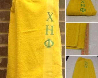CHI ETA PHI Greek Letter Embroidered Yellow Terry Towel Pool, Spa, Gym,Shower Wrap/Embroidered Lime Green Embroidery
