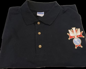 Knights of Columbus 4th Degree Embroidered Black Polo Shirt/4TH Degree KNIGHTS OF COLUMBUS 2XLg Polo Shirt/Black 4th Degree Polo Shirt 2XLG