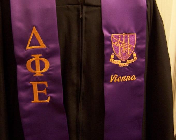 DELTA PHI EPSILON Purple or Gold Satin Graduation Stole w/Greek Letter Embroidery &/or Class Year/Shield