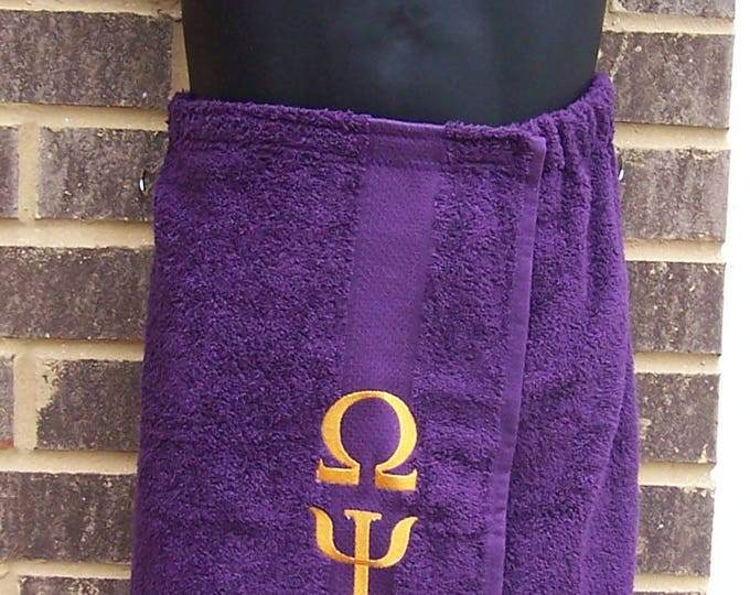 OMEGA PSI PHI Greek Letter Embroidered Pool, Spa, Gym,Terry Cloth Shower Wrap/Que Shower Wrap/Omega Shower Wrap/Omega Groomsman Gift