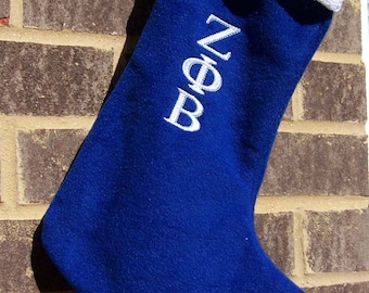 Zeta Phi Beta  Fleece Greek Letter Embroidered Christmas Stocking with Lace or Satin Cuff