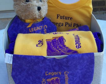 Future OMEGA PSI PHI Alpha Phi  Kappa Alpha Psi Fleece Blanket with Crochet Edge, Bib, Burp Cloth Tee Shirt 7 Piece Gift Set