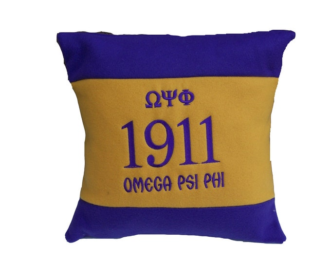 """OMEGA PSI PHI 16"""" Greek Letter Embroidered Purple & Gold Pillow"""