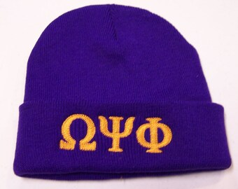 OMEGA PSI PHI Purple Embroidered Greek Letter Monogrammed Acrylic Knit Beanie