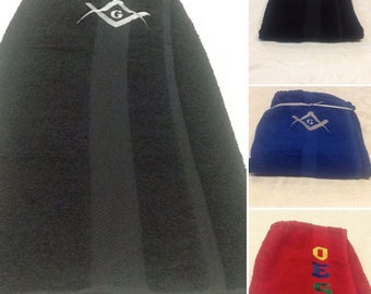 MASON SQUARE Embroidered Royal Blue or Black Terry Towel Pool, Spa, Gym,Shower Wrap/Embroidered w Silver Gray Mason Square