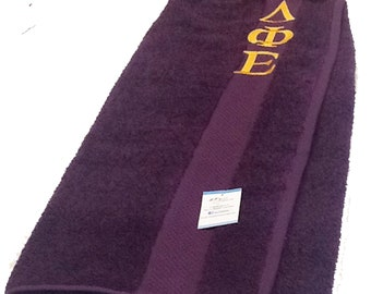 Delta Phi Epsilon Greek Letter Monogrammed Pool, Spa, Gym, Deep Purple Terry Cloth Shower Wrap/Delta Phi Epsilon Bridesmaid Gift