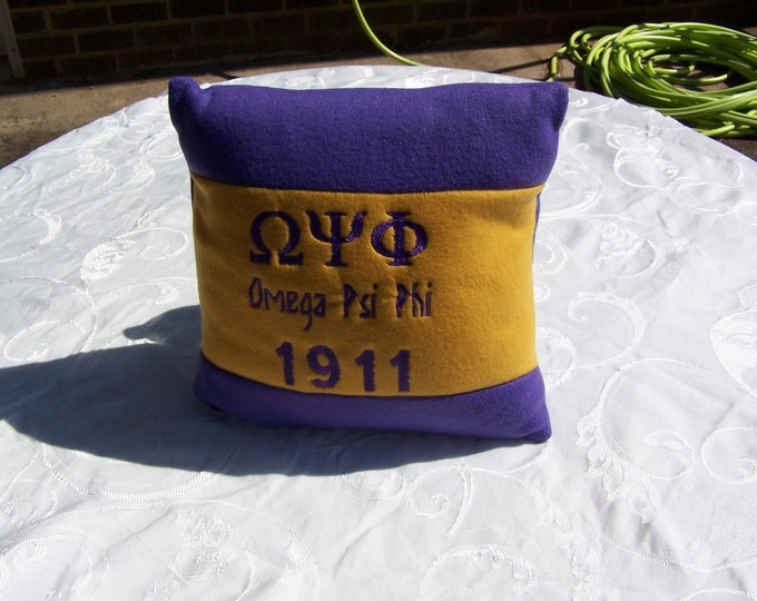 "OMEGA PSI PHI 16"" Greek Letter Embroidered One of a Kind Purple & Gold Pillow"
