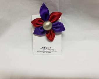 Purple and Red  6 Petal Satin Fabric Flower Pin/Brooch/ 6 Pedal Satin Flower Pin/Satin Lapel Pin/Pink n White Sorority Colors