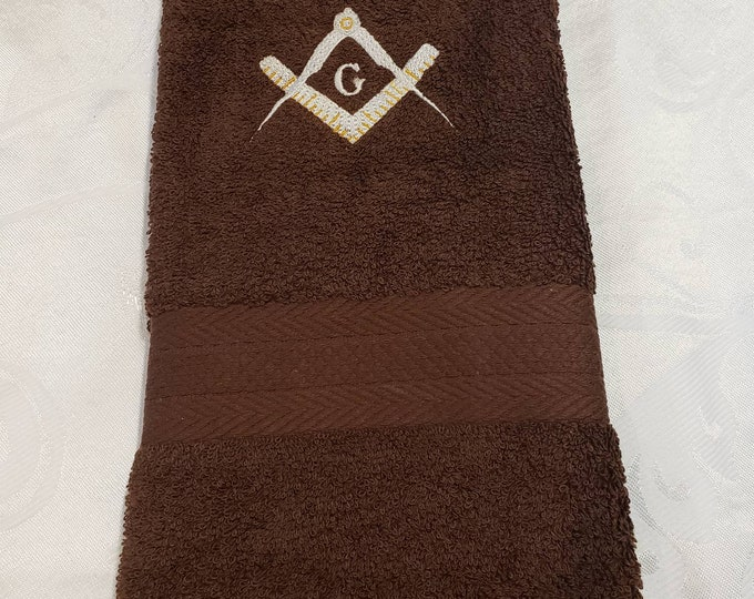 EMBROIDERED MASON SQUARE hand towel/Brown Mason Hand towel/Mason Sport Towel/Mason Gym towel/Embroidered Mason Gym Towel