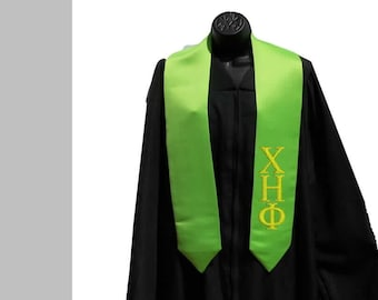 LIME / Apple Green Custom/Personalized, Embroidered Greek Lettered, High School, College, University, Trade School Graduation Stole/Sash