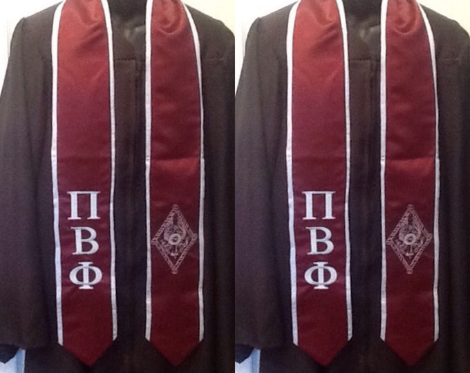 Pi Beta Phi Maroon/Silver Blue Trim Graduation Stole